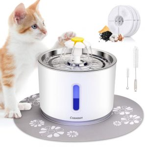 2.4 L Stainless Steel Cat Water Fountain from Comsmart