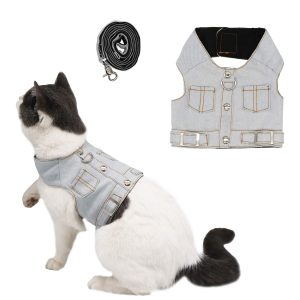 Jeans Jacket Harness and Leash Set By Ruri