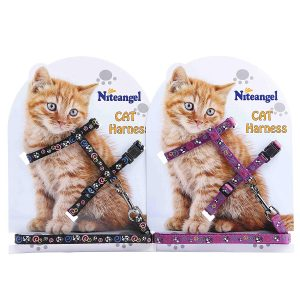 Pack of Adjustable Cat Harness with Leash Set By Niteangel